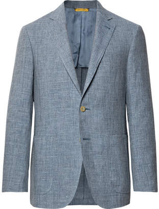 Canali Dusty-Blue Kei Slim-Fit Melange Linen And Silk-Blend Suit Jacket
