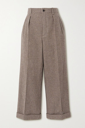 Saint Laurent Cropped Pleated Houndstooth Wool Wide-leg Pants - Brown