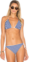 Shoshanna Marine Stripe Triangle Bikini in Navy. - size A-B (also in B-C)