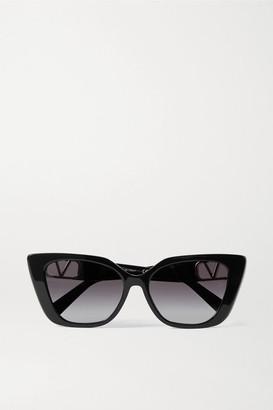 Valentino Garavani Cat-eye Acetate And Gold-tone Sunglasses - Black
