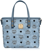 MCM Mini Denim Eco Leather Top Zip Shopping Bag