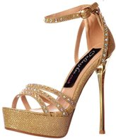 Onlineshoe Women's Sparkly Glitter Strappy Metallic Heel Cross Over Crystal Encrusted Stilettos
