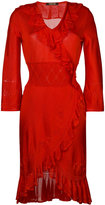 Roberto Cavalli ruffle trim knit dress - women - Silk/Polyester/Spandex/Elastane/Viscose - 40