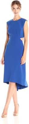 Halston Women's Cap Sleeve Round Neck Dress with Back Cut Out