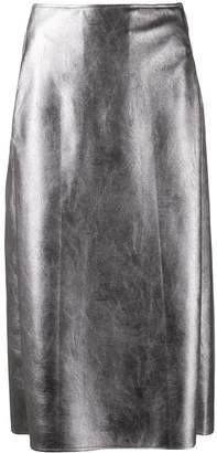 Incotex faux leather pencil skirt