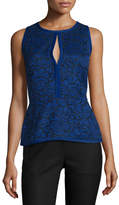 J. Mendel Sleeveless Lace Peplum Top, Imperial Blue