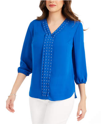 JM Collection Solid Studded Pleated Blouse