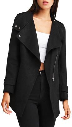 Belle & Bloom Bad Girl Black Wool Blend Moto Coat