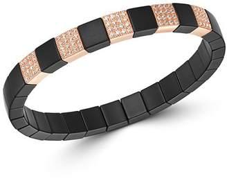 Roberto Demeglio 18K Rose Gold & Black Ceramic Scacco Champagne Diamond Stretch Bracelet