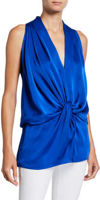 Ramy Brook Marie Draped Charmeuse Top