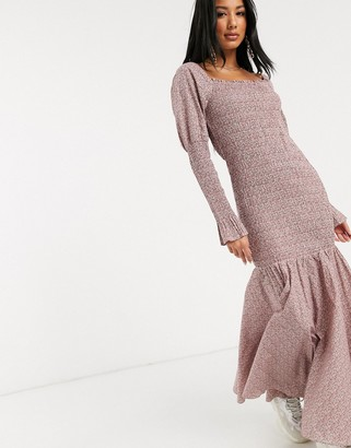 NA-KD ditsy floral print gathered puff sleeve maxi dress in pink