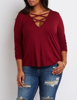 Charlotte Russe Plus Size Caged Crochet Tunic Top
