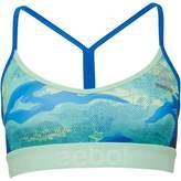 Reebok Womens Workout Ready Speedwick Printed Sports Bra Top Seafoam Green/Blue Sport