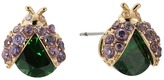 Betsey Johnson Green Lady Bug CZ Stud Earrings
