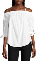 BY AND BY by&by Elbow Sleeve Boat Neck Poplin Blouse-Juniors
