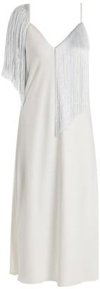 Ellery Fandango V-neck Fringed Crepe Midi Slip Dress - Womens - White