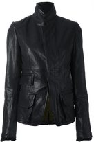 Haider Ackermann stand collar jacket - women - Cotton/Leather - 36