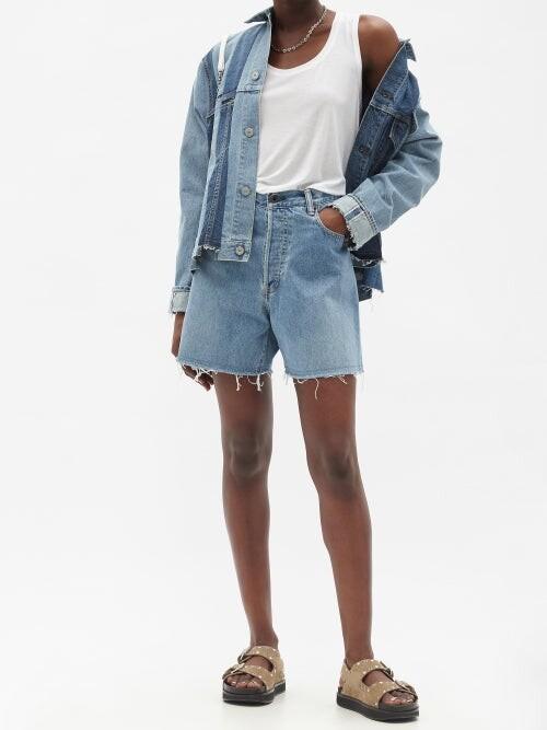 Thumbnail for your product : Kuro Asymmetric High-rise Denim Shorts - Denim