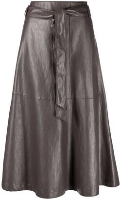 Luisa Cerano Leather-Effect Tie-Waist Skirt