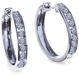 Lord & Taylor 14K White Gold Diamond Hoop Earrings, 1 TCW