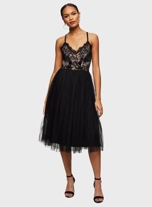 Miss Selfridge Black Embellished Prom Cross Back Midi Dress