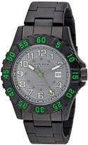Akribos XXIV Men's AK794GN Quartz Movement Watch with Gray Dial and Black Stainless Steel Bracelet