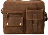 Visconti Tan Buckle-Pocket Leather Messenger Bag