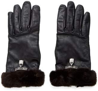 Hermes Black Lambskin & Mink Kelly Lock Gloves