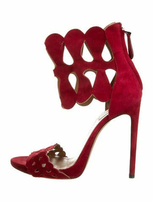 Alaia Suede Sandals Red