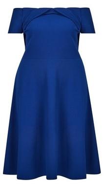 Dorothy Perkins Womens **Dp Curve Cobalt Bardot Twist Dress, Cobalt