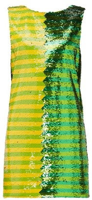 Halpern Striped Sequinned Mini Dress - Green Print