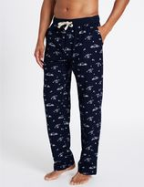Marks and Spencer Pure Cotton Printed Long Pyjama Bottoms