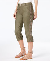 INC International Concepts Linen Embroidered Cargo Pants, Created for Macy's
