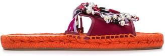 Emilio Pucci Printed Fringe Sandals