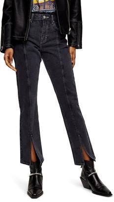 Topshop High Waist Split Hem Ankle Straight Leg Jeans