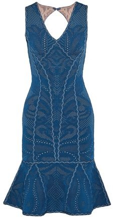 Herve Leger Fluted Cutout Pointelle-Knit Dress