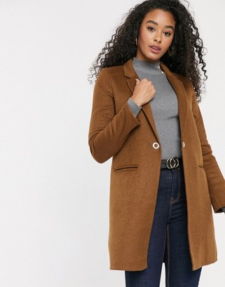 Pimkie mid length button front coat in brown
