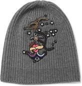 Valentino Appliquéd Ribbed-Knit Wool Beanie