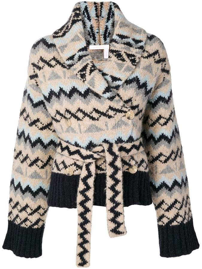See by Chloe Aztec patterned wrap cardigan