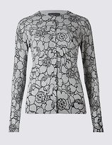 M&S Collection Line Floral Print Round Neck Cardigan