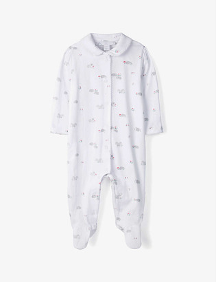 The Little White Company Woodland cotton-blend sleepsuit 0-24 months