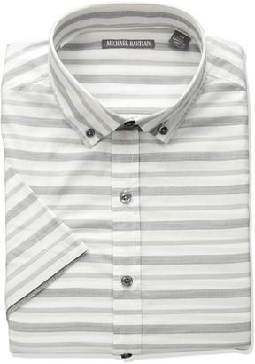 Michael Bastian Men's Short Sleeve Cotton Stripe Shirt