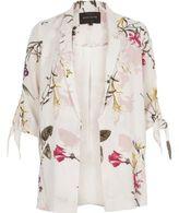 River Island Womens White floral print tie sleeve blazer