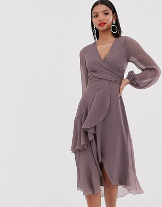 Asos DESIGN wrap waist midi dress with double layer skirt and long sleeve