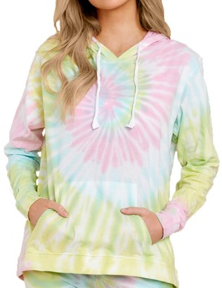 Steve Madden Tie-Dye Long Sleeve Hooded Pullover Multi
