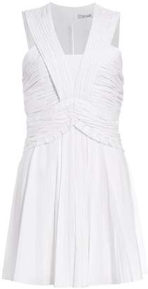 Derek Lam 10 Crosby Ruched Pleated Stretch-Linen Mini A-Line Dress