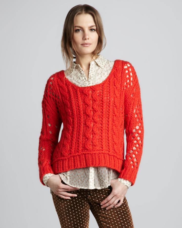 Free People Wide-Stitch Sweater