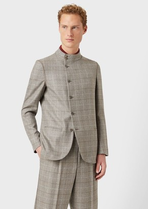 Giorgio Armani Jacket In Check Wool And Cashmere With Off-Centre Buttons
