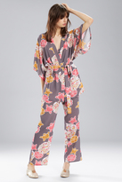 Natori Josie Summer Festival Happi Coat Charcoal With Hibiscus