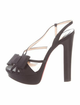Christian Louboutin Disconoeud 140 Bow Accents Slingback Sandals Black